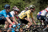 yellow jersey / GC leader Adam Yates (GBR/Mitchelton-Scott) in the pack<br /> <br /> Stage 6: Saint-Vulbas to Saint-Michel-de-Maurienne (228km)<br /> 71st Critérium du Dauphiné 2019 (2.UWT)<br /> <br /> ©kramon