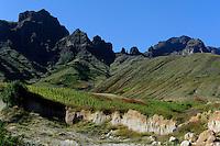 Berge bei Cha de Morte, Abbbau von Puzzolana = Trass (Gestein), Santo Antao, Kapverden, Afrika