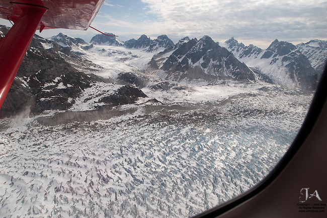 Aerial view of Glacier Field south of Mt McKinley from the air.