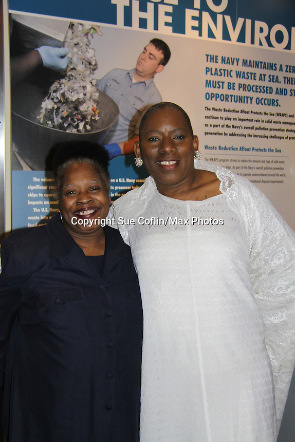 """Nana poses with her sister (L) - At the gala Nana Malaya (mom to Lamman Rucker- ATWT & AMC) performed a dance to """"If I Could Fly"""". Nana is artistic director, choreographer, storyteller, motivaitonal speaker, poet, minister, dancer, actress, fitness consultant. - The United States Memorial Celebrates Black History Month with a benefit performance of the Layon Gray's Black Angels Over Tuskegee attend the gala on February 22, 2011 in Washington, DC before performing on Friday, February 25. (Photo by Sue Coflin/Max Photos)"""