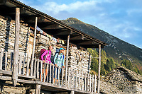 Two hikers arrive at the Capanna Nimi, while on the Via Alta Via Maggia, a difficult week long trek from Locarno to Broglio, Switzerland