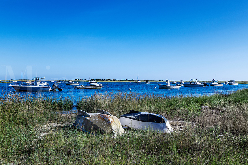Charming boats along Oyster River.