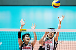 Wing spiker Risa Shinnabe of Japan (L) and Middle blocker Haruyo Shimamura of Japan (R) in action during the FIVB Volleyball World Grand Prix match between China vs Japan on July 21, 2017 in Hong Kong, China. Photo by Marcio Rodrigo Machado / Power Sport Images