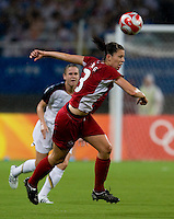 Emily Zurrer. The USWNT defeated Canada in extra time, 2-1, during the 2008 Beijing Olympics in Shanghai, China.