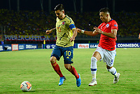 PEREIRA - COLOMBIA, 30-01-2020: Nicolas Benedetti de Colombia disputa el balón con Nicolas Diaz de Chile durante partido entre Colombia U-23 y Chile U-23 por la fecha 5, grupo A, del CONMEBOL Preolímpico Colombia 2020 jugado en el estadio Hernán Ramírez Villegas de Pereira, Colombia. /  Nicolas Benedetti of Colombia fights the ball with Nicolas Diaz of Chile during the match between Colombia U-23 and Chile U-23 for the date 5, group A, for the CONMEBOL Pre-Olympic Tournament Colombia 2020 played at Hernan Ramirez Villegas stadium in Pereira, Colombia. Photo: VizzorImage / Julian Medina / Cont