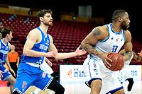 03-04-2021: Basketbal: Donar Groningen v Heroes Den Bosch: Groningen Donar speler Juwann James met Den Bosch speler Thomas van der Mars