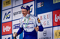 Yves Lampaert (BEL/Deceuninck-QuickStep) wins the 44th AG Driedaagse Brugge-De Panne 2020 (1.UWT / BEL) and experiences the sting of victory champagne <br /> <br /> 1 day race from Brugge to De Panne (203km shortened to 188km due to the windy weather conditions) <br /> <br /> ©kramon
