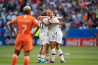 LYON, FRANCE - JULY 07: Tobin Heath, Morgan Brian and Christen Press celebrate during a game between Netherlands and USWNT at Stade de Lyon on July 07, 2019 in Lyon, France.