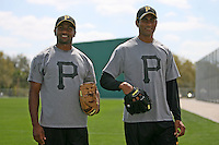 """February 26, 2009:  India pitchers Dinesh Patel and Rinku Singh of the Pittsburgh Pirates organization during Spring Training at Pirate City in Bradenton, FL.  Singh and Patel won the reality TV show """"The Million Dollar Arm"""" and were signed by the Pirates in 2008.  Photo by:  Mike Janes/Four Seam Images"""