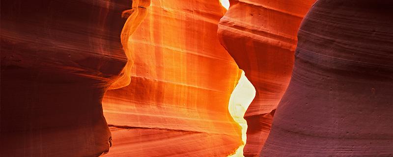 Sandstone walls in Antelope Canyon. Utah.