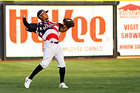 Quad Cities River Bandits outfielder Corey Julks (15) throws in the outfield between innings of a Midwest League game against the Peoria Chiefs on May 27, 2018 at Modern Woodmen Park in Davenport, Iowa. Quad Cities defeated Peoria 8-3. (Brad Krause/Four Seam Images)