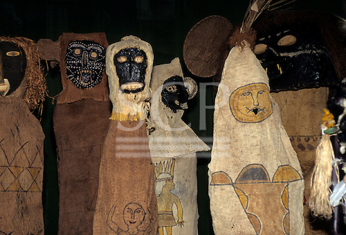 Brasilia, Brazil. Tukano ritual masks and artefacts.
