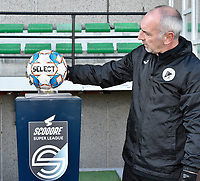 Aalst's goalkeeper coach Donald Kuhn pictured with the matchball holder during a female soccer game between Eendracht Aalst and Racing Genk on the fifth matchday of the 2020 - 2021 season of Belgian Scooore Womens Super League , Saturday 28 th of November 2020  in Aalst , Belgium . PHOTO SPORTPIX.BE | SPP | DIRK VUYLSTEKE