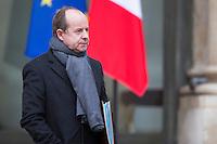 JEAN-JACQUES URVOAS GARDE DES SCEAUX QUITTE LE PALAIS DE L'ELYSEE APRES LE CONSEIL DES MINISTRES DU 11 JANVIER 2017 A PARIS.
