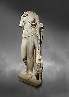 Roman statue of Nemesis. Perge. 2nd century AD. Antalya Archaeology Museum,  Against a grey background