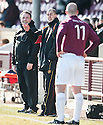 Albion manager Todd Lumsden shares a joke with Arbroath's player / manager Paul Sheerin..