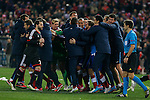Atletico de Madrid´s players celebrate their victory at the penalty shootouts during the UEFA Champions League round of 16 second leg match between Atletico de Madrid and Bayer 04 Leverkusen at Vicente Calderon stadium in Madrid, Spain. March 17, 2015. (ALTERPHOTOS/Victor Blanco)