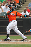 Bowie Baysox third baseman Zealous Wheeler #26 bats during a game against the New Hampshire Fisher Cats at Prince George's Stadium on June 17, 2012 in Bowie, Maryland. New Hampshire defeated Bowie 4-3 in 13 innings. (Brace Hemmelgarn/Four Seam Images)