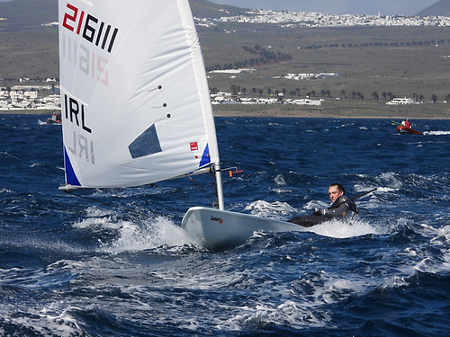A determined Eve McMahon in today's strong downwind legs of the Lanzarote Winter Series
