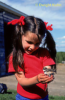 1K10-001z  Killdeer - young girl holding 1-2 day old chick - Charadrius vociferus