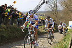 The breakaway group including David Boucher (FRA) FDJ-Big Mat and Manuel Belletti (ITA) AG2R La Mondiale climb Koppenberg during the 96th edition of The Tour of Flanders 2012, running 256.9km from Bruges to Oudenaarde, Belgium. 1st April 2012. <br /> (Photo by Eoin Clarke/NEWSFILE).
