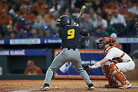 Mark Vierling (9) of the Missouri Tigers at bat against the Texas Longhorns in game eight of the 2020 Shriners Hospitals for Children College Classic at Minute Maid Park on March 1, 2020 in Houston, Texas. The Tigers defeated the Longhorns 9-8. (Brian Westerholt/Four Seam Images)