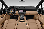 Stock photo of straight dashboard view of a 2020 Porsche Cayenne Base 5 Door SUV
