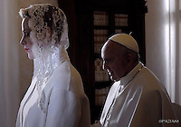 Pope Francis Prince Albert II , Princess Charlene of Monaco private audience Vatican.January 18,2016