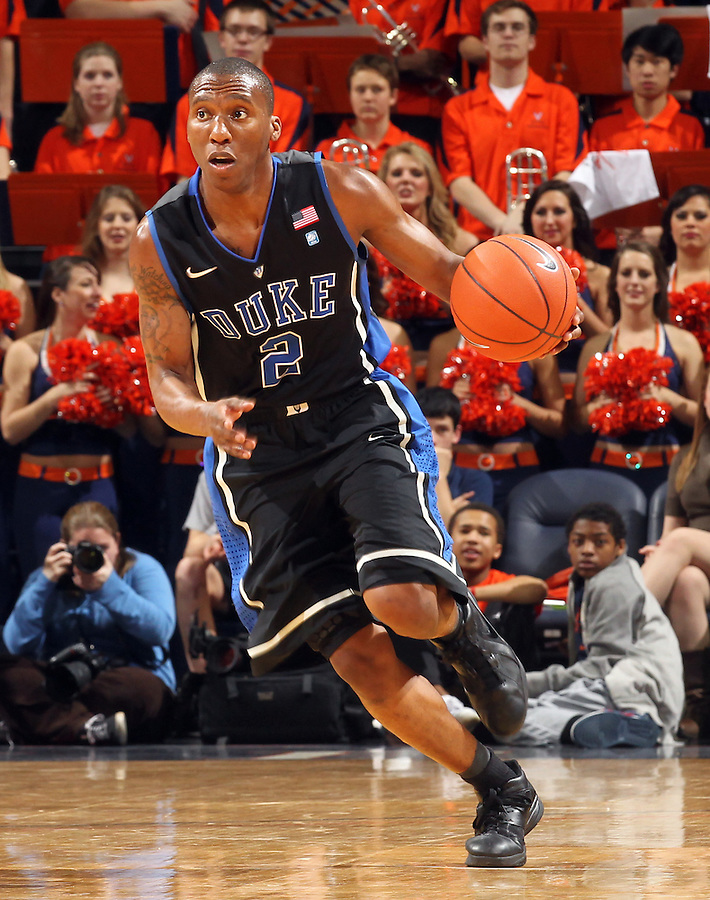 Feb. 16, 2011; Charlottesville, VA, USA; Duke Blue Devils guard Nolan Smith (2) handles the ball during the second half of the game against the Virginia Cavaliers at the John Paul Jones Arena. The Duke Blue Devils won 56-41.  Credit Image: © Andrew Shurtleff