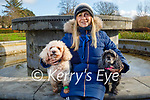 Helen O'Connor with Pebbles and Shelby the dogs enjoying a walk in the Tralee town park on Saturday.