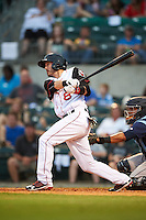 Arkansas Travelers shortstop Eric Stamets (8) at bat during a game against the Corpus Christi Hooks on May 29, 2015 at Dickey-Stephens Park in Little Rock, Arkansas.  Corpus Christi defeated Arkansas 4-0 in a rain shortened game.  (Mike Janes/Four Seam Images)