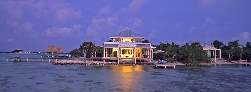 Villa at Cayo Espanto, Belize, a private island off Ambergris Caye in the Caribbean.