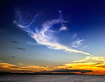 Angelic cloud at sunset over the island of Jamaica