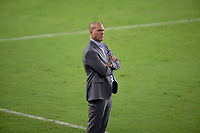 LOS ANGELES, CA - SEPTEMBER 13: Giovanni Savarese Portland Timbers head coach during a game between Portland Timbers and Los Angeles FC at Banc of California stadium on September 13, 2020 in Los Angeles, California.