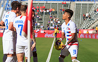 CARSON, CA - FEBRUARY 1: Brenden Aaronson #8, Ulysses Llanez Jr #19, Sebastian Lletget #17 of the United States celebrate an Ulysses PK goal tribute to Kobe Bryant during a game between Costa Rica and USMNT at Dignity Health Sports Park on February 1, 2020 in Carson, California.