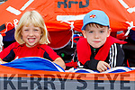 Callum McGibney and Adam O'Donnell in the life raft at the open day for the RNLI Lifeboat in Fenit
