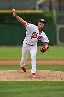 Peoria Chiefs pitcher Alvaro Seijas (22) a pitch against the Quad Cities River Bandits at Dozer Park on June 11, 2018 in Peoria, Illinois. The Chiefs won 1-0.  (Dennis Hubbard/Four Seam Images)