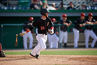 Batavia Muckdogs Evan Edwards (26) bats during a NY-Penn League game against the Auburn Doubledays on June 19, 2019 at Dwyer Stadium in Batavia, New York.  Batavia defeated Auburn 5-4 in eleven innings in the completion of a game originally started on June 15th that was postponed due to inclement weather.  (Mike Janes/Four Seam Images)