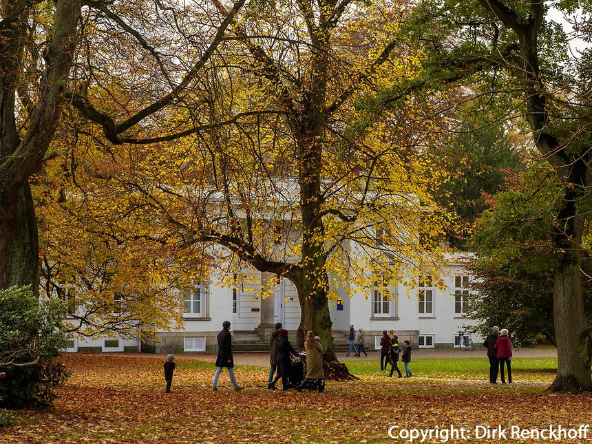 Altweibersommer, Lola-Rogge-Schule im Hirschpark in Hamburg-Blankenese, Deutschland, Europa<br /> Indian Summer, Hirschpark in Hamburg-Blankenese, Germany, Europe