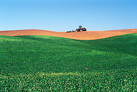 Wheat field and tractor.  Palouse region. Whitman County, WA