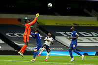 29th September 2020; Tottenham Hotspur Stadium, London, England; English Football League Cup, Carabao Cup, Tottenham Hotspur versus Chelsea; Edouard Mendy of Chelsea collects the ball above Ben Chilwell