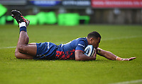 1st January 2021; Ashton Gate Stadium, Bristol, England; Premiership Rugby Union, Bristol Bears versus Newcastle Falcons; Siva Naulago of Bristol Bears scores a try in the first few minutes of the match