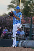 Myrtle Beach Pelicans pitcher Randy Henry #25 on the mound during the first game of a doubleheader against the Carolina Mudcats at Tickerreturn.com Field at Pelicans Ballpark on May 10, 2012 in Myrtle Beach, South Carolina. Myrtle Beach defeated Carolina by the score of 2-1. (Robert Gurganus/Four Seam Images)