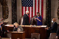 Speaker of the House Nancy Pelosi, D-CA, and Vice President Mike Pence speak before a joint session of the House and Senate convenes to count the Electoral College votes cast in November's election, at the Capitol in Washington, Wednesday, Jan. 6, 2021.<br /> Credit: Graeme Jennings / Pool via CNP/AdMedia