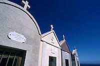 White gravestones in the Marine Cemetery in Bonifacio, Corsica, France.