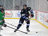 Brockport Blue Devils Alex Harley (22) during a varsity ice hockey game against the Notre Dame Fighting Irish of Batavia during the Section V Rivalry portion of the Frozen Frontier outdoor hockey event at Frontier Field on December 22, 2013 in Rochester, New York.  (Copyright Mike Janes Photography)