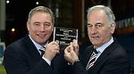 Ally McCoist and Charles Green with the welcome plaque from the London Stock Exchange