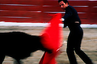 Blurred motion image of a young bullfighter with a young bull. Mexico.