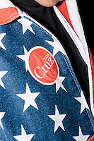 A man wearing an American flag jacket and a Cruz sticker is seen while Texas senator and Republican presidential candidate Ted Cruz speaks at The Village Trestle restaurant in Goffstown, New Hampshire, on Wed., Feb. 3, 2016.