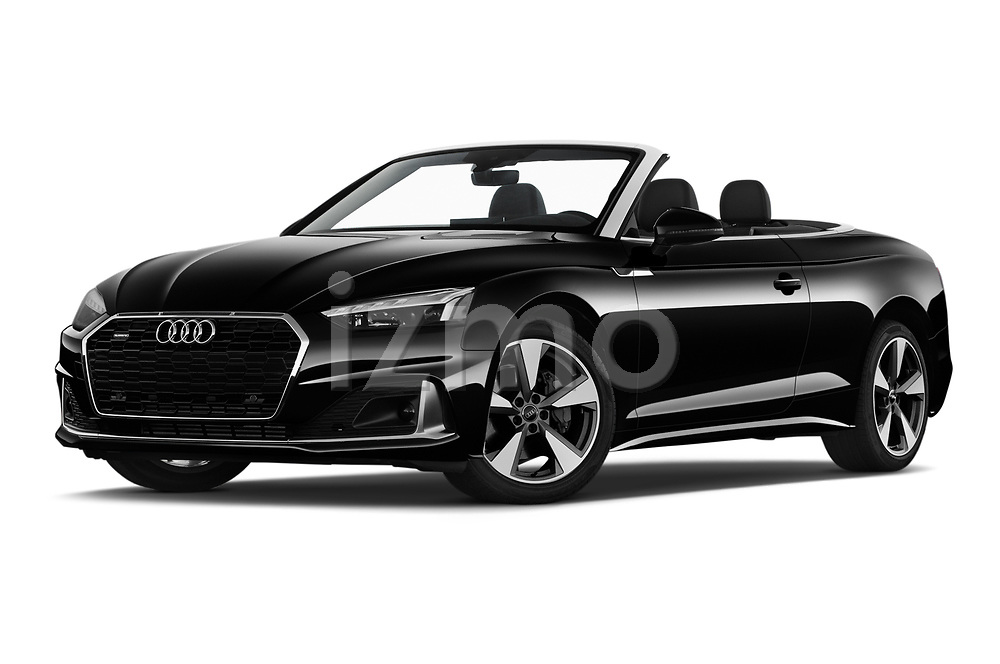 Stock pictures of low aggressive front three quarter view of 2021 Audi A5-Cabriolet Avus 2 Door Convertible Low Aggressive